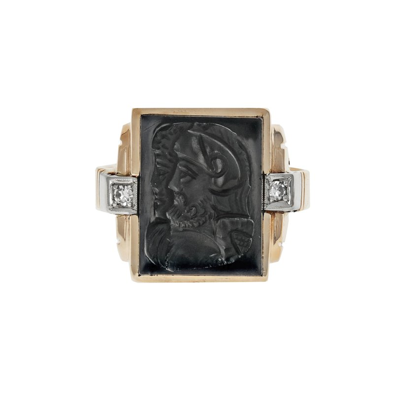 Estate Radcliffe Carved Onyx & Diamond Ring