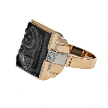 Carved Onyx & Diamond Ring