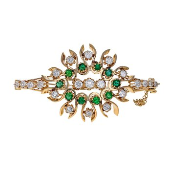 Diamond & Emerald Flower Bangle Bracelet