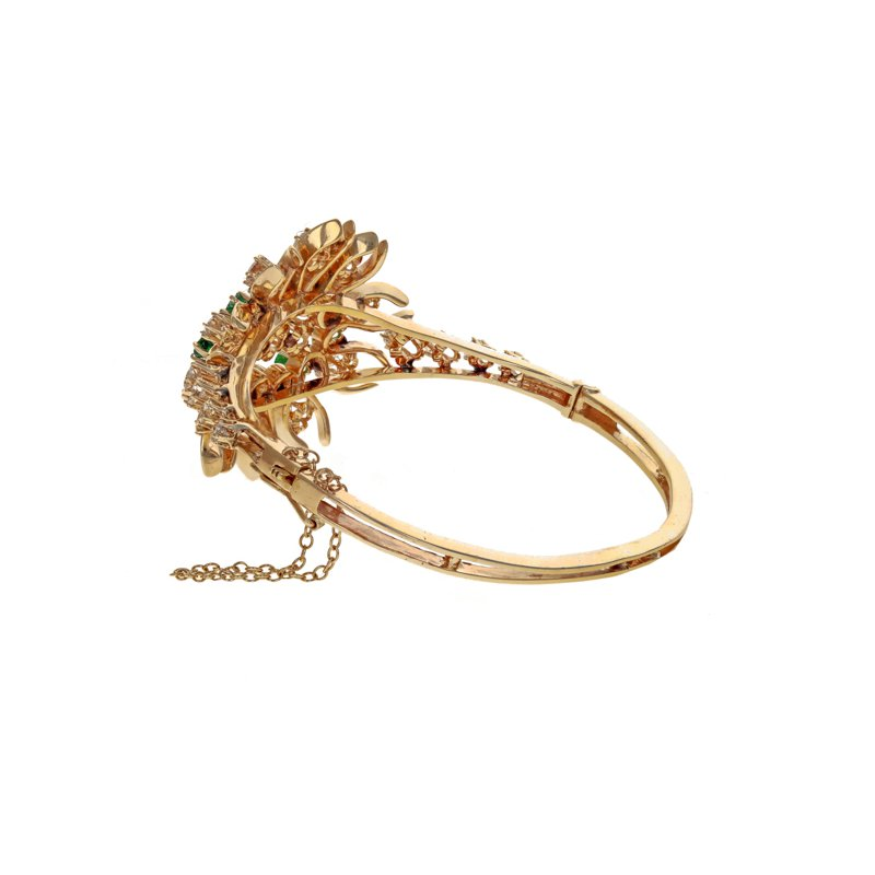 Estate Radcliffe Diamond & Emerald Flower Bangle Bracelet