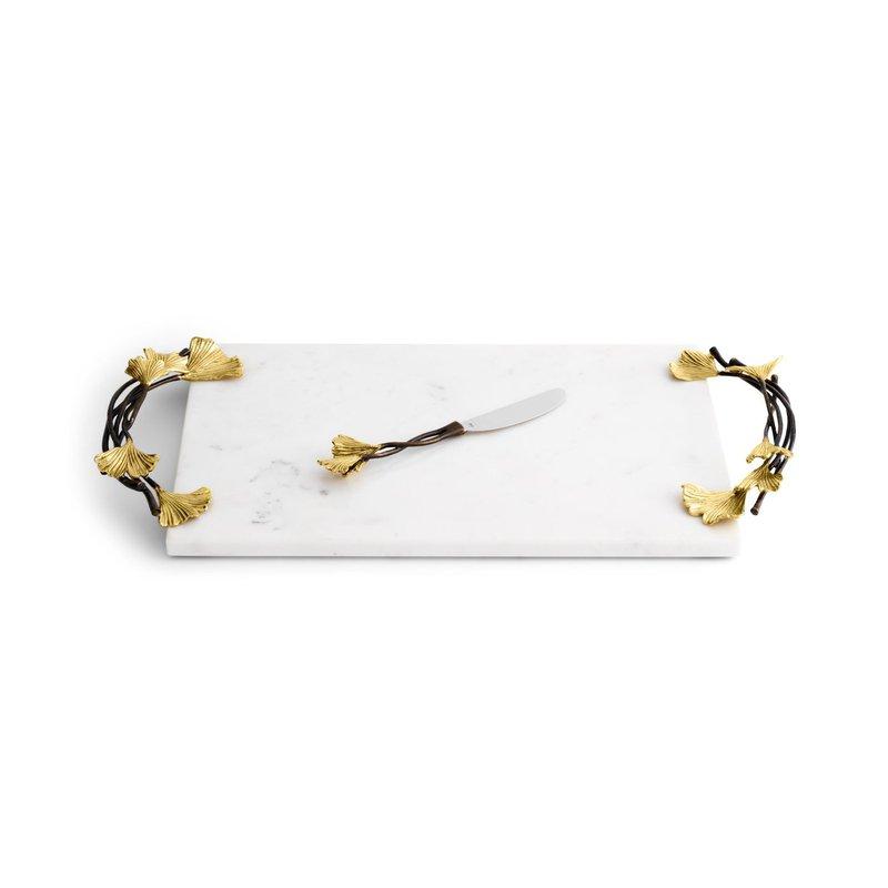 Michael Aram Golden Ginkgo Large Cheese Board w/ Knife