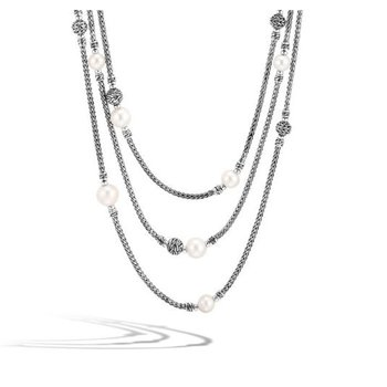 Classic Chain Multi Row Necklace - Freshwater Pearl