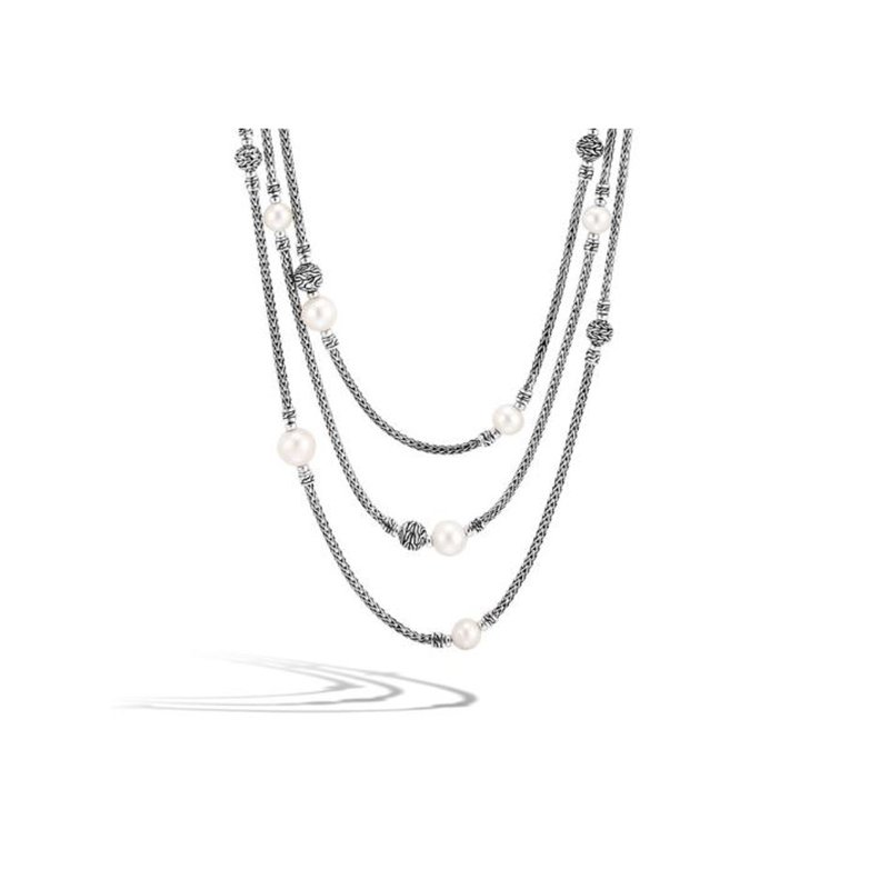 John Hardy Classic Chain Multi Row Necklace - Freshwater Pearl