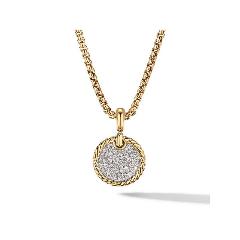 David Yurman DY Elements Disc Pendant in 18K Yellow Gold with Pave Diamonds