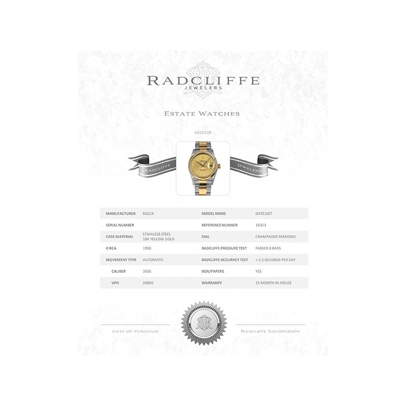 Pre-Owned Rolex Datejust (Ref. 16003)