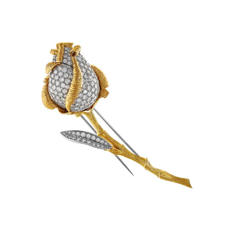 Estate Radcliffe Pave Diamond Rose Brooch