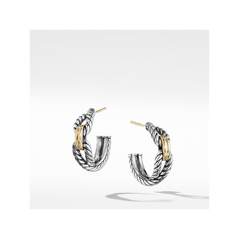 David Yurman Cable Loop Hoop Earrings with 18K Gold