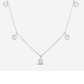 Five Diamond Drop Station Necklace