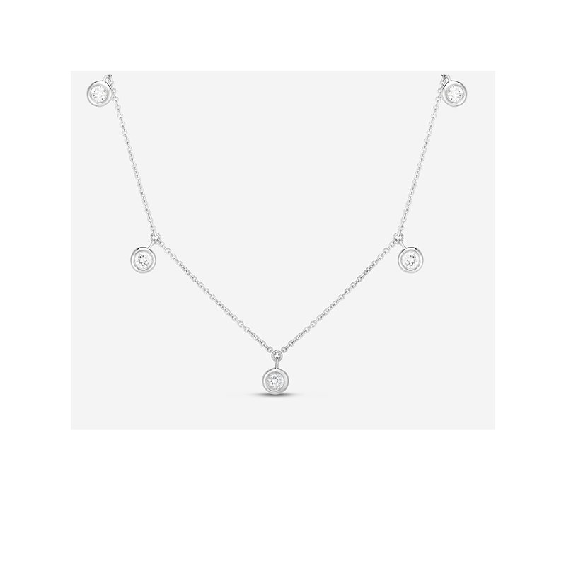 Roberto Coin Five Diamond Drop Station Necklace