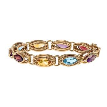 Marquise Gemstone Link Bracelet