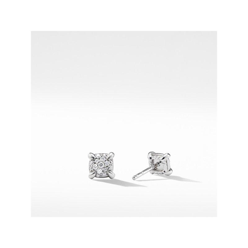 David Yurman Precious Chatelaine Stud Earrings with Diamonds in 18K White Gold