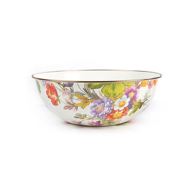 Mackenzie-Childs Flower Market Extra Large Everyday Bowl- White