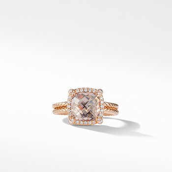 Chatelaine Pave Bezel Ring in 18K Rose Gold with Morganite