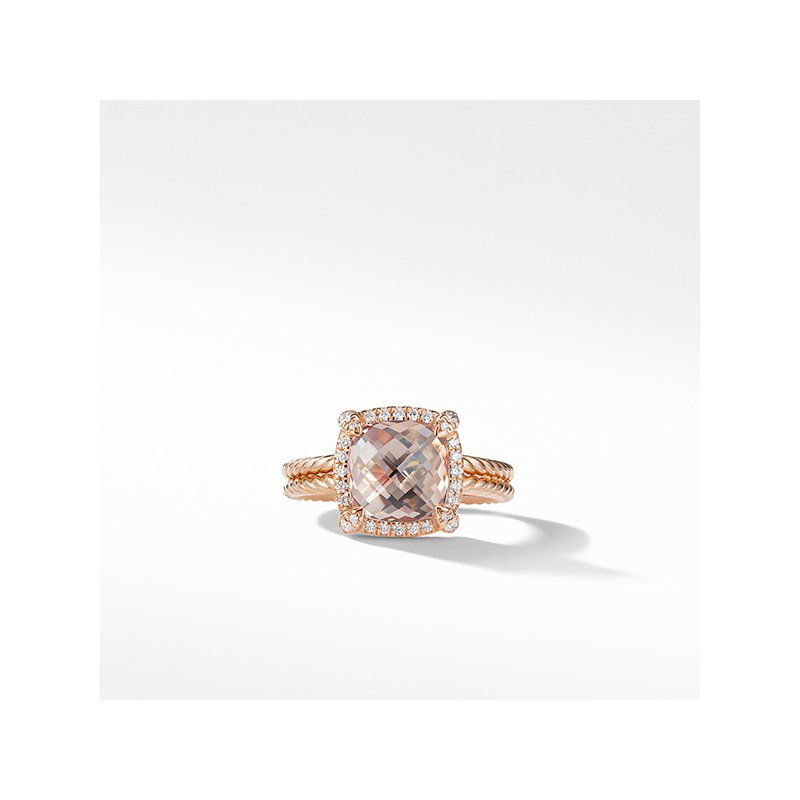 David Yurman Chatelaine Pave Bezel Ring in 18K Rose Gold with Morganite
