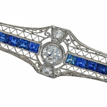 Diamond & Sapphire Bar Pin