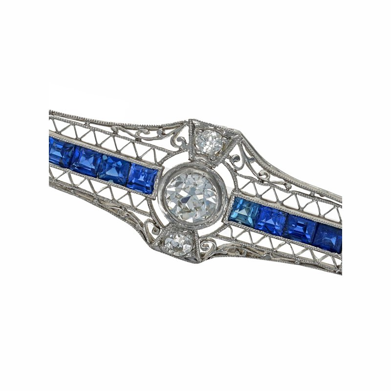 Estate Radcliffe Diamond & Sapphire Bar Pin