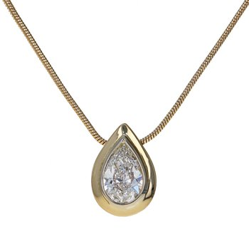 Pear-Shaped Diamond Solitaire Pendant Necklace