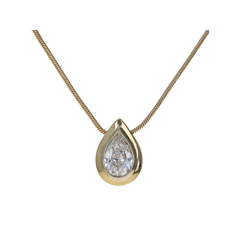 Estate Radcliffe Pear-Shaped Diamond Solitaire Pendant Necklace