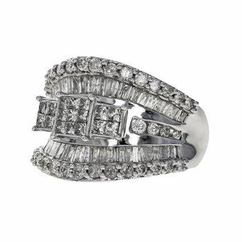 Concave Diamond Cluster Ring