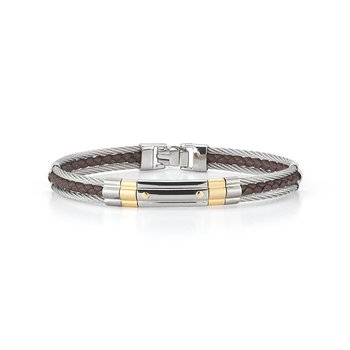 Grey Cable & Brown Leather Striped Bracelet