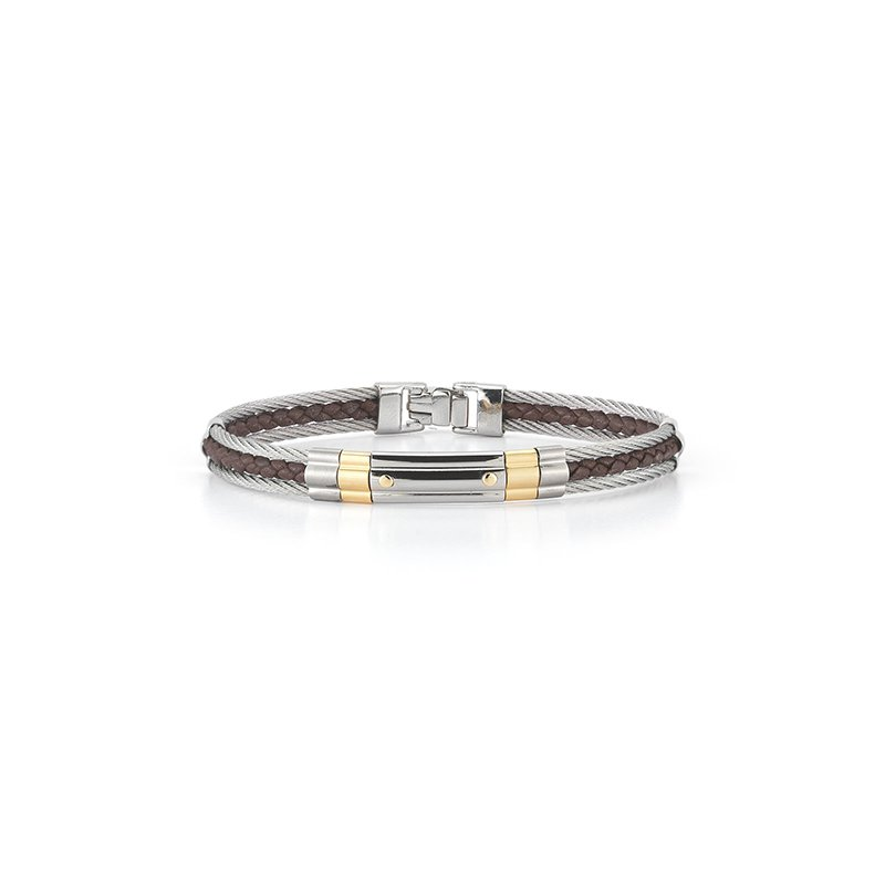 ALOR Grey Cable & Brown Leather Striped Bracelet