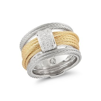 Yellow & Grey Cable Single Stack Ring