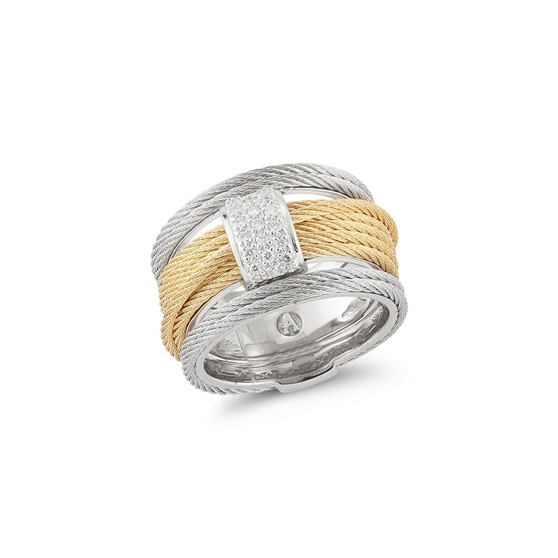 ALOR Yellow & Grey Cable Single Stack Ring