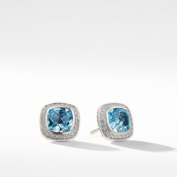 Earrings with Blue Topaz and Diamonds