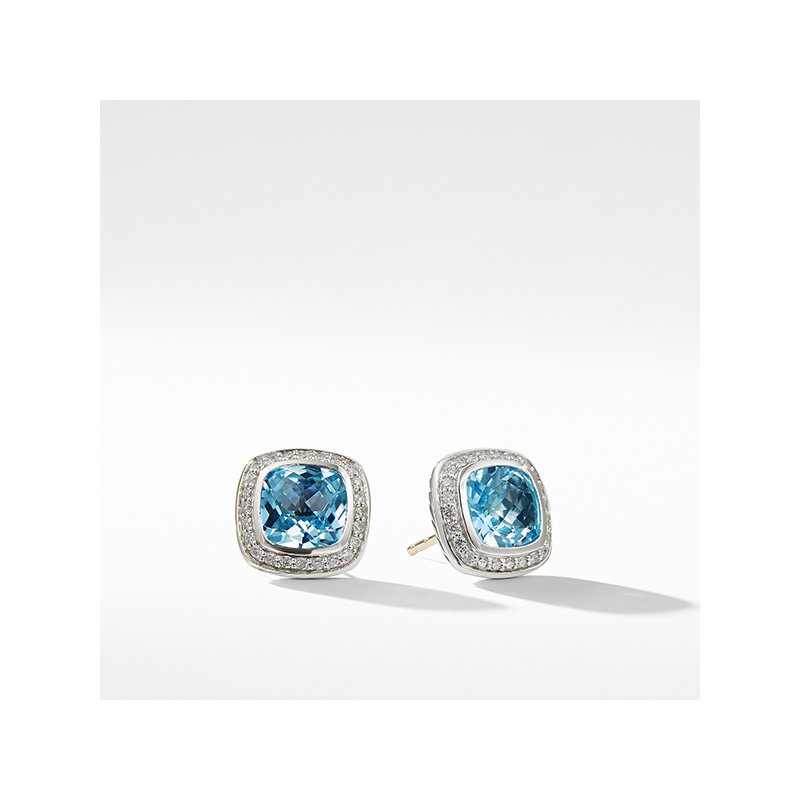 David Yurman Earrings with Blue Topaz and Diamonds