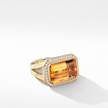 Novella Statement Ring in 18K Yellow Gold with Madeira Citrine and Diamonds