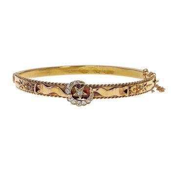 Victorian Star & Crescent Diamond Bangle