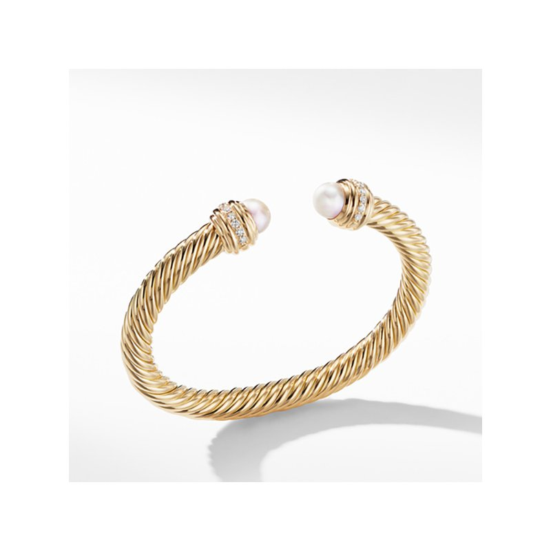 David Yurman Cable Bracelet in 18K Gold with Pearls and Diamonds
