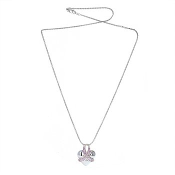 Pink Sapphire Ribbon Heart Pendant Necklace