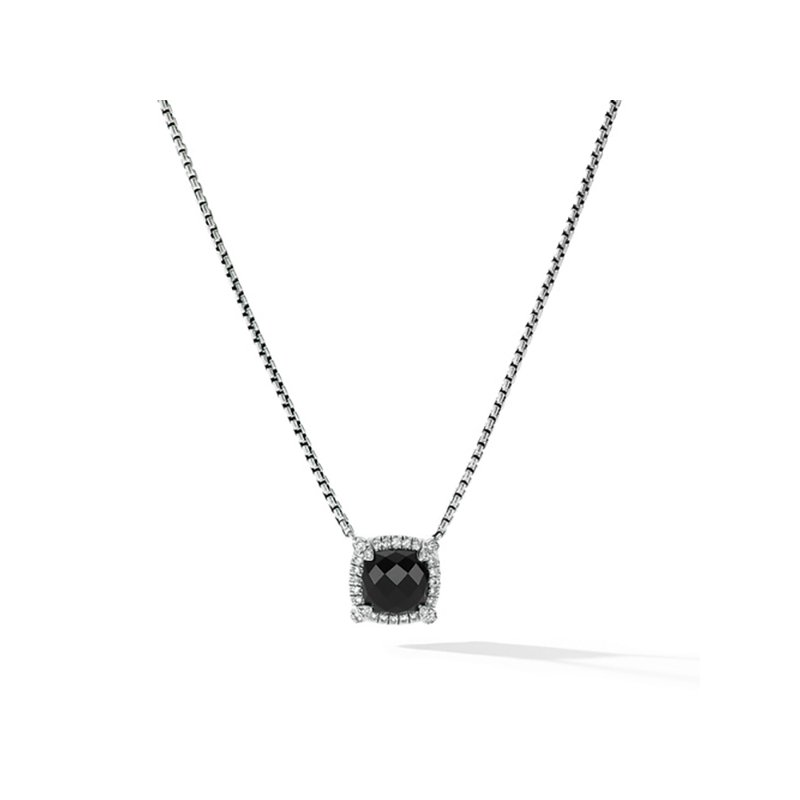 David Yurman Petite Chatelaine® Pavé Bezel Pendant Necklace with Black Onyx and Diamonds