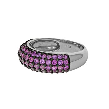 Four Row Pink Sapphire Ring