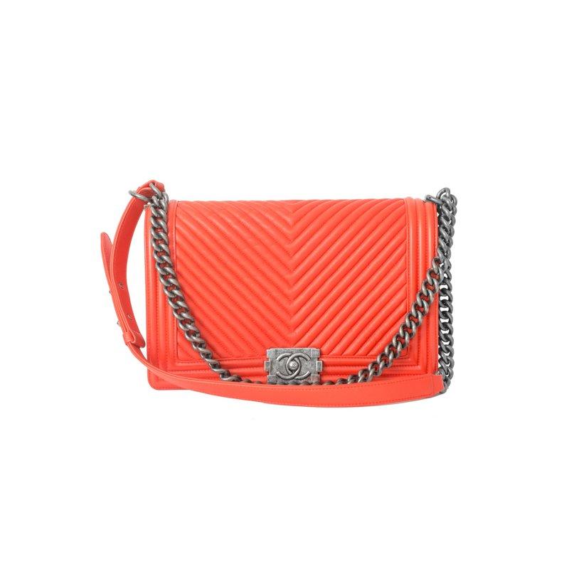 CHANEL Orange Chevron Boy Bag