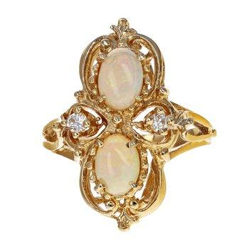 Opal & Diamond Beaded Ring