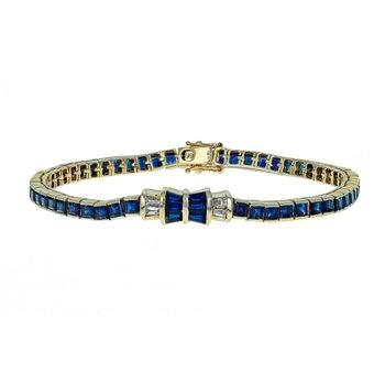 Diamond & Sapphire Bow Line Bracelet