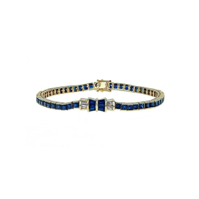 Estate Radcliffe Diamond & Sapphire Bow Line Bracelet