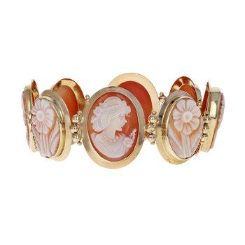 8 Bezel Set Cameo Bracelet