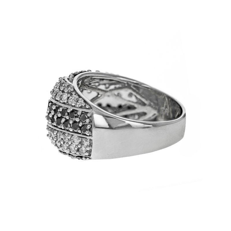 Estate Radcliffe White & Black Diamond Striped Ring