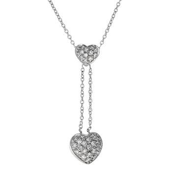 Diamond Double Heart Drop Necklace