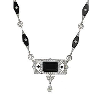 Art Deco Diamond & Onyx Necklace