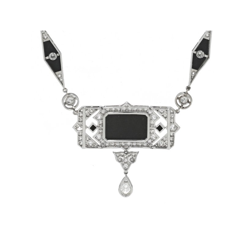 Estate Radcliffe Art Deco Diamond & Onyx Necklace