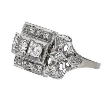 Three Row Diamond Filigree Ring