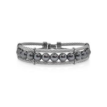 Large Grey Cable & Hematite Bracelet