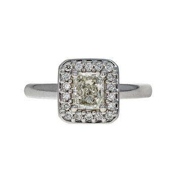Rectangle Diamond Halo Ring