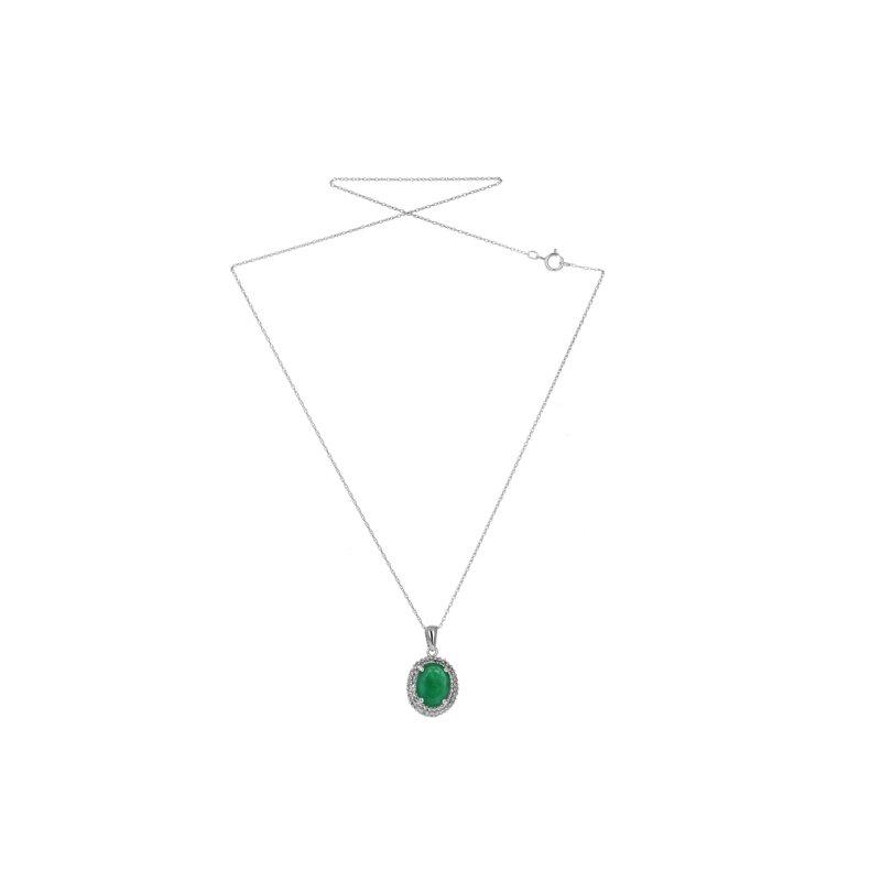 Estate Radcliffe Oval Emerald & Diamond Halo Necklace