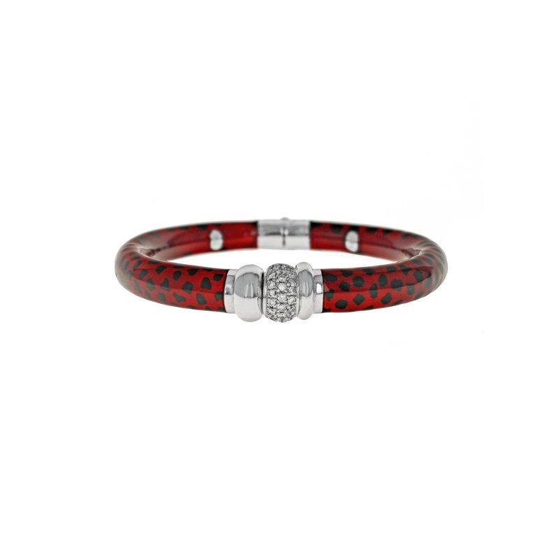Estate Soho Jewelry Red Enamel & Diamond Bracelet