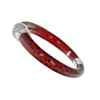 Red Enamel & Diamond Bracelet